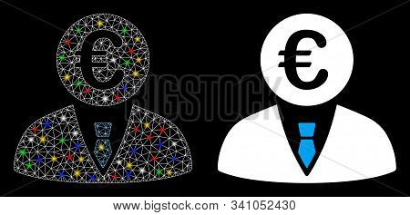 Glossy Mesh Euro Clerk Icon With Glitter Effect. Abstract Illuminated Model Of Euro Clerk. Shiny Wir