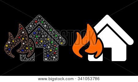 Glowing Mesh Fire Damage Icon With Lightspot Effect. Abstract Illuminated Model Of Fire Damage. Shin