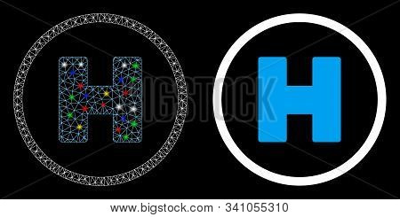 Glowing Mesh Helicopter Landing Spot Icon With Sparkle Effect. Abstract Illuminated Model Of Helicop