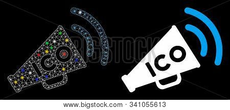 Glossy Mesh Ico News Megaphone Icon With Glare Effect. Abstract Illuminated Model Of Ico News Megaph