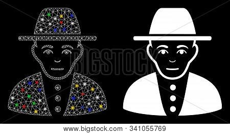Flare Mesh Jew Icon With Glow Effect. Abstract Illuminated Model Of Jew. Shiny Wire Frame Polygonal