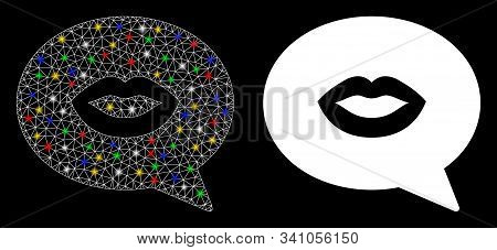 Flare Mesh Lips Smiley Message Icon With Glow Effect. Abstract Illuminated Model Of Lips Smiley Mess