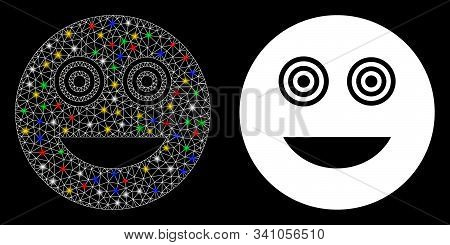 Glossy Mesh Mad Smiley Icon With Sparkle Effect. Abstract Illuminated Model Of Mad Smiley. Shiny Wir