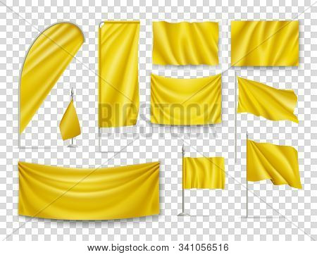 Yellow Rectangular Flags Set Isolated On Transparent Background. Realistic Wavy Flag On Pole, Expo B