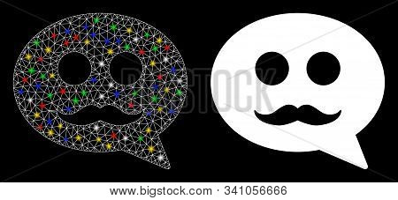 Glowing Mesh Male Smiley Message Icon With Glare Effect. Abstract Illuminated Model Of Male Smiley M