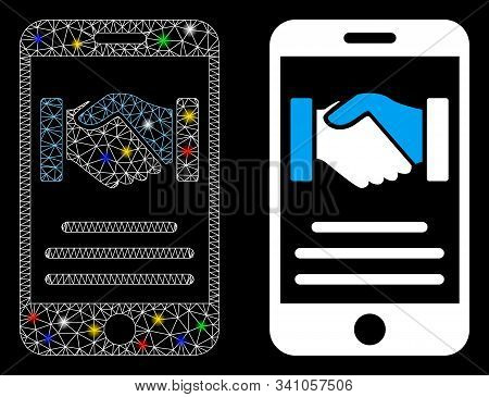 Flare Mesh Mobile Agreement Handshake Icon With Glare Effect. Abstract Illuminated Model Of Mobile A