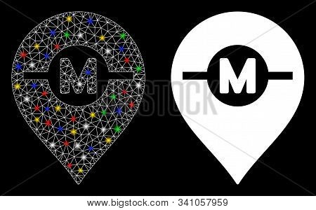 Glowing Mesh Motor Marker Icon With Lightspot Effect. Abstract Illuminated Model Of Motor Marker. Sh