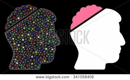 Glowing Mesh Open Mind Icon With Lightspot Effect. Abstract Illuminated Model Of Open Mind. Shiny Wi