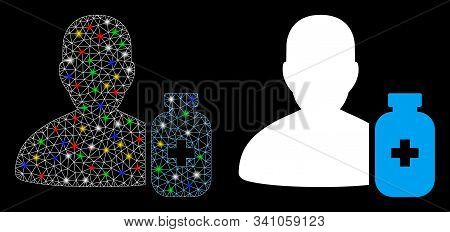 Glossy Mesh Pharmacist Medicine Icon With Lightspot Effect. Abstract Illuminated Model Of Pharmacist