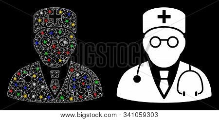 Flare Mesh Physician Icon With Glow Effect. Abstract Illuminated Model Of Physician. Shiny Wire Carc