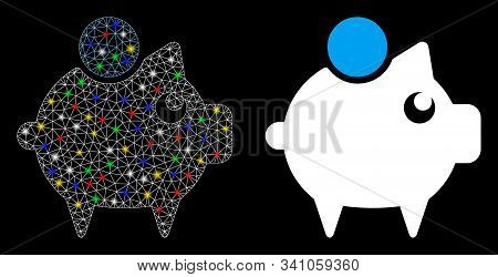 Flare Mesh Piggy Bank Icon With Glitter Effect. Abstract Illuminated Model Of Piggy Bank. Shiny Wire