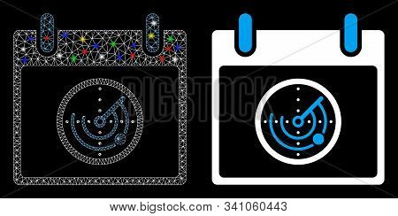 Glowing Mesh Radar Calendar Day Icon With Glare Effect. Abstract Illuminated Model Of Radar Calendar