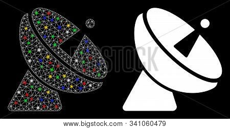 Bright Mesh Radio Telescope Icon With Lightspot Effect. Abstract Illuminated Model Of Radio Telescop