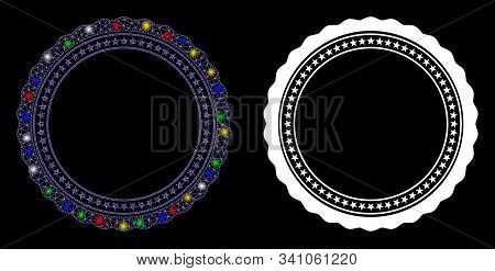 Flare Mesh Rosette Circular Star Frame Icon With Glow Effect. Abstract Illuminated Model Of Rosette