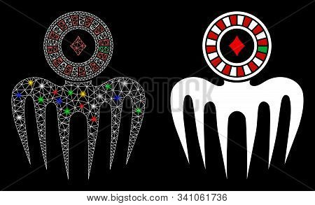 Glossy Mesh Roulette Spectre Monster Icon With Glare Effect. Abstract Illuminated Model Of Roulette