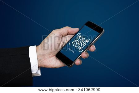 Qr Code Scanning Payment And Verification. Businessman Holding Mobile Smart Phone Scan Qr Code