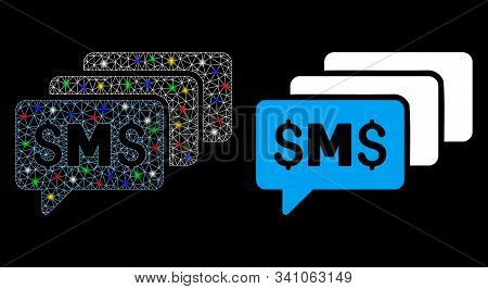 Flare Mesh Sms Messages Icon With Lightspot Effect. Abstract Illuminated Model Of Sms Messages. Shin
