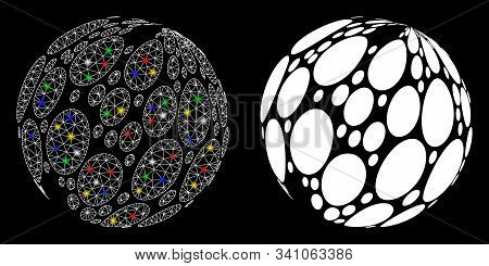 Glossy Mesh Spotted Abstract Sphere Icon With Glare Effect. Abstract Illuminated Model Of Spotted Ab