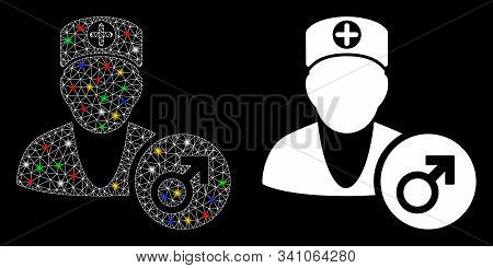 Flare Mesh Urology Doctor Icon With Lightspot Effect. Abstract Illuminated Model Of Urology Doctor.