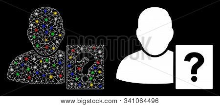 Glossy Mesh User Status Question Icon With Glitter Effect. Abstract Illuminated Model Of User Status
