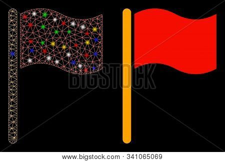 Glowing Mesh Waving Flag Icon With Lightspot Effect. Abstract Illuminated Model Of Waving Flag. Shin