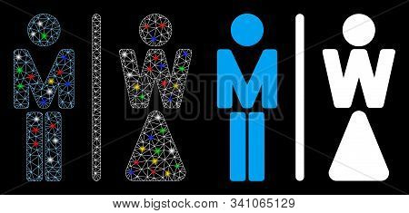 Glossy Mesh Wc Persons Icon With Glow Effect. Abstract Illuminated Model Of Wc Persons. Shiny Wire F