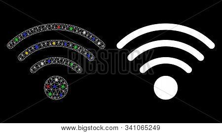 Flare Mesh Wi-fi Source Icon With Sparkle Effect. Abstract Illuminated Model Of Wi-fi Source. Shiny