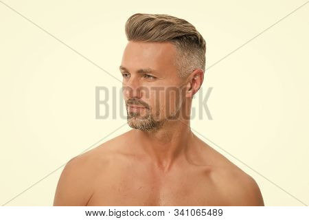 Male Natural Beauty. Grizzle Hair Suits Him. Deal With Gray Roots. Man Attractive Well Groomed Facia