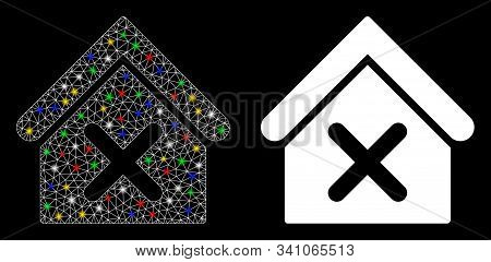 Glossy Mesh Wrong House Icon With Lightspot Effect. Abstract Illuminated Model Of Wrong House. Shiny