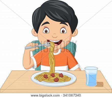 Vector Illustration Of Cartoon Little Boy Eating Spaghetti