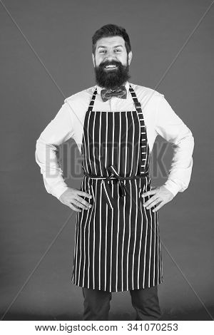 I Will Cook For You. Bearded Man Cook Smiling In Apron. Confident Master Cook With Beard And Moustac