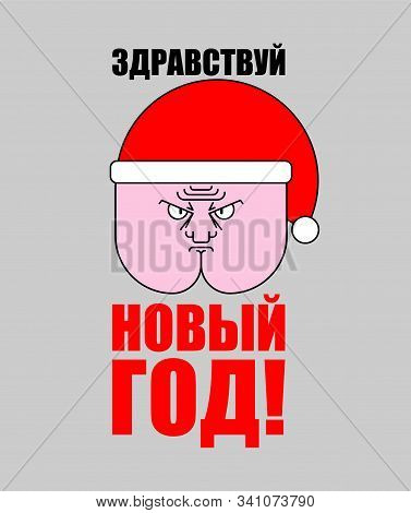 Funny Christmas Poster Russian Text - Hello Ass, New Year! Ass In Santa Hat. Xmas Buttocks Vector Il