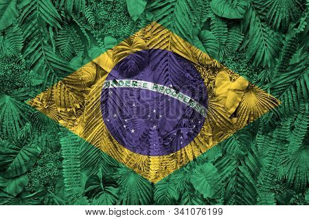 Brazil Flag Depicted On Many Leafs Of Monstera Palm Trees. Trendy Fashionable Backdrop