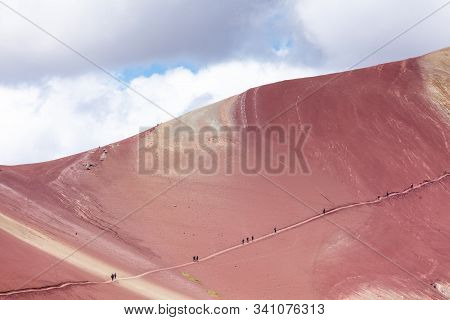 People Rise To The Top In The Rainbow Mountains Of Peru. Peruvian Andes. Ausangate Mountain