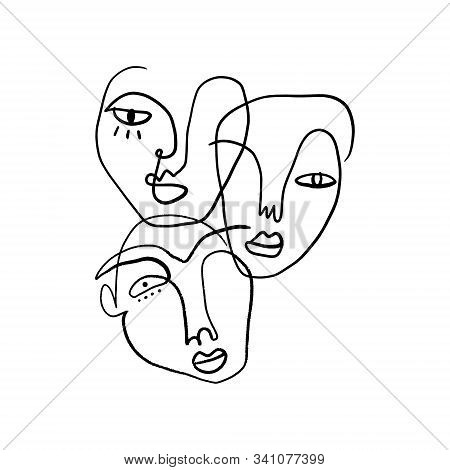 Abstract Fashion Artistic Portrait Painted Illustration Of People Faces Silhouette Group Pattern One