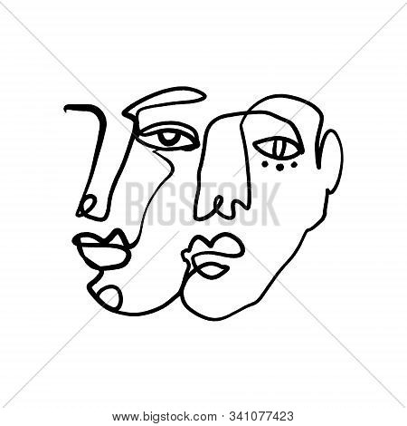 Abstract Fashion Artistic Portrait Painted Illustration Of People Faces Silhouette Couple One Line D