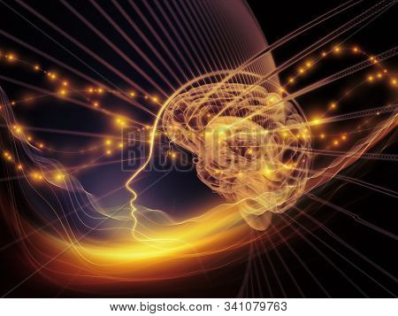 Illustrative Human Brain With Glowing Thoughts In Black Background