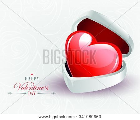 Light Composition With A White Casket And A Big Red Heart