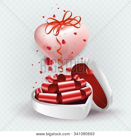 Illustration With A White Casket And A Pink Bright Heart With A Bow, Design Element