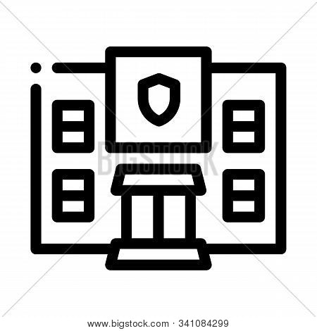 Police Department Build Icon Vector. Outline Police Department Build Sign. Isolated Contour Symbol I