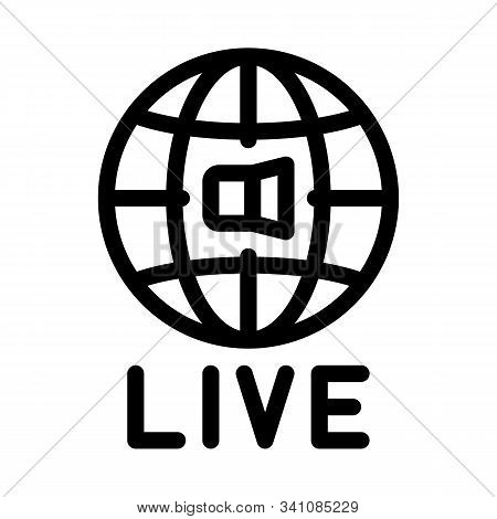 World Wide Live Podcast Icon Vector. Outline World Wide Live Podcast Sign. Isolated Contour Symbol I