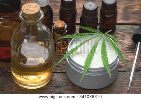 Cannabis Cbd Oil And Other Products Close Up.