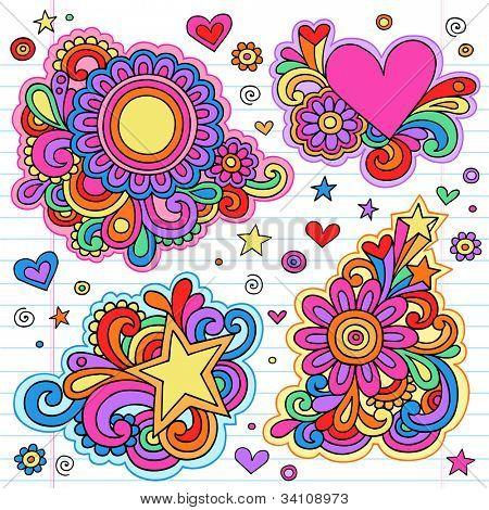 Groovy Psychedelic Doodles Hand Drawn Notebook Doodle Design Elements on Lined Sketchbook Paper Background- Vector Illustration