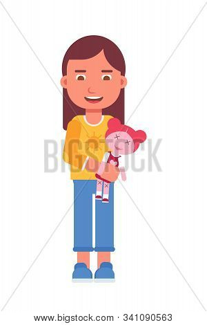 Girl Holding Toy Flat Vector Illustration. Smiling Little Child And Princess Doll Cartoon Character.