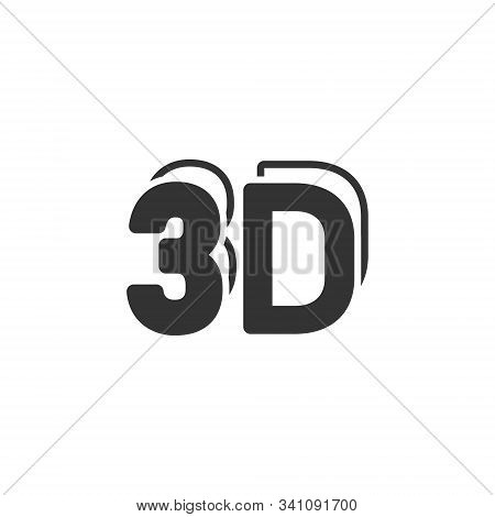 3d Text Icon In Flat Style. Word Vector Illustration On White Isolated Background. Stereoscopic Tech