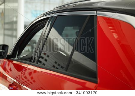 Modern Car With Tinting Foil On Window, Closeup