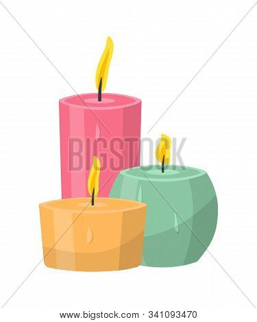 Aromatic Candles Flat Vector Illustration. Burning Decorative Pink, Orange And Blue Wax Candles Isol