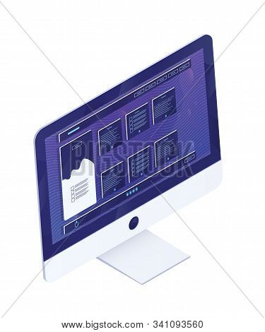 Computer Monitor Isometric Vector Illustration. Modern Pc With Website, Application Interface On Scr