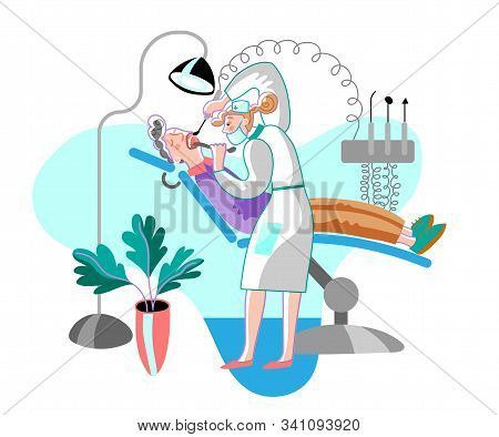 Teeth Treatment Flat Vector Illustration. Patient And Doctor In Dentistry Office Cartoon Characters.