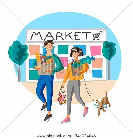 Young Couple Buying Food At Market Flat Vector Illustration. Wife And Husband Shopping With Dog. Hap